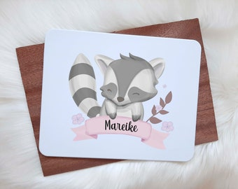 Breakfast Board with Name Animal Motif - Wish Name printed in various fonts, panda, raccoon, fox, elephant bunny cutting board
