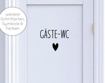 """Door sign """"Guest TOILET"""" with symbol: heart, leaf, anchor door label in various fonts, colors, symbols door stickers - toilet"""