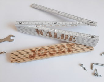 Meter stick with name, inch stick engraved, scale, 2 meters, wood white, wood nature with desired engraving, laser engraving personalized customs stick