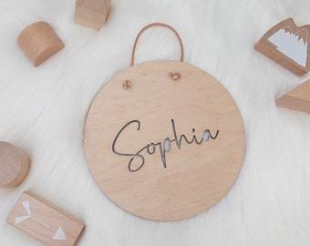 Wooden sign with name - name plate made of wood - name punched out - round size 15 or 20 cm - personalized sign with desired name wood engraving