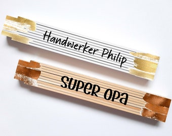 Meter stick with name or wish saying, Best dad, craftsman name, different colors, inch stick personalized name hobby craftsman
