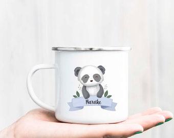 "Cup ""Animal Motif"" with name, ver. Animals Personalized, Enamel Mug or Ceramic Cup, Animal Cup, Gift, Bunny Mug, Fox, Raccoon"