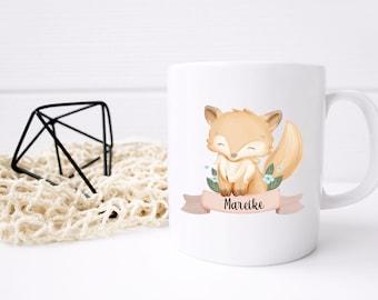 "Cup ""Animal Motif"" with name, ver. Animals Personalized, Ceramic Cup or Enamel Mug, Animal Mug, Gift, Bunny Mug, Fox, Raccoon"