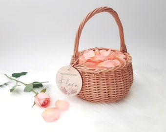 Basket for flower children with name pendant, flower girl, name sign, small basket for wedding, 15 cm diameter, flower basket for church