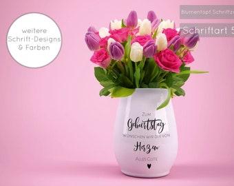 "Flower pot birthday ""For birthday we wish you all the best"" gift, round birthday, birthday flower - Only stickers!"