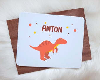 Breakfast board with name Dino motif - desired name in different fonts, T-Rex