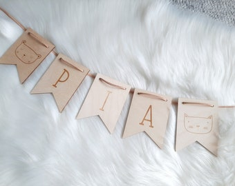 Pennant garland personalized wooden - name garland with motifs - wood chain with leather strap - name garland flag baby