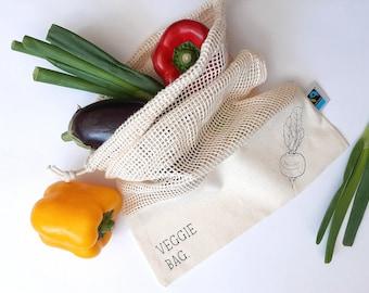 Fruit bag personalized reusable bag / cotton bag / Fairtrade 100% organic cotton tote bag without plastic / bleach