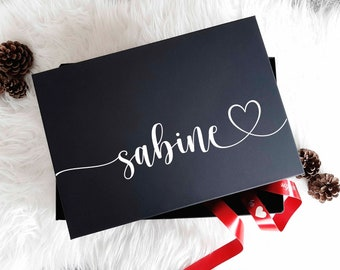 Gift box with wish names, noble gift box, Christmas gift, gift wrapping for self-filling, DIY bagbox