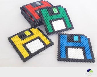 Set of 4 Square Glitter Pixar Minion Epoxy Resin and Perler Beads  Fun Coasters