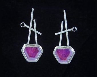 Pink Sapphire, Black Spinel, and sterling silver earrings