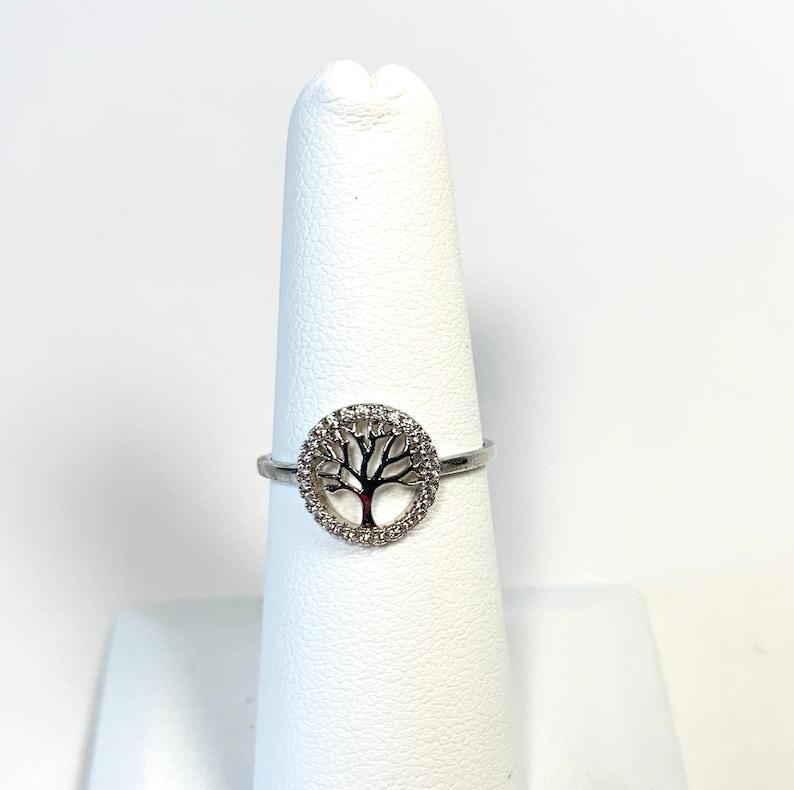 Sterling Silver Tree of Life Family Tree CZ Rhinestone Ring