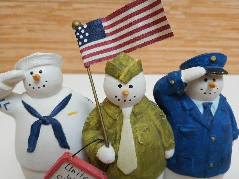 rare Snowman figurines military uniform United we Stand by Sandi Gore Evans SGE