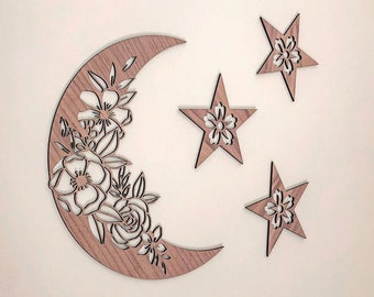 Floral Moon and Stars Celestial Galaxy Wall Decor | Crescent Moon Nursery Wooden Sign | Stars and Moon Nursery Wall Art | Baby Shower Gift