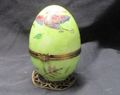 Enamel Egg Music Box, Limoges, Hand painted, Bunny inside, mother 39 s day, unique gift