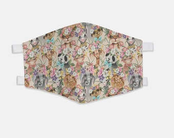 JW Face Mask | Cute Animals in Paradise Pattern Fabric Face Mask JW ORG, jw org, jw ministry, jw accessories