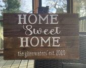 Farmhouse home sweet home wood sign