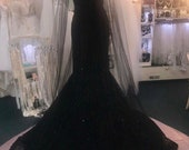 Black Lace fit-n-flare wedding dress