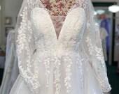 TPS Original Ivory Bouffant Sleeve Flower Dress