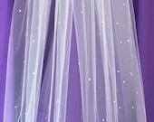 "60"" Scattered Swarovski Crystal Veil"