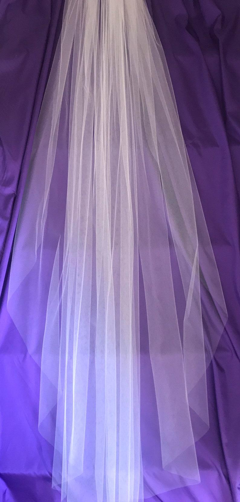 85 Plain White Floor-Length Veil image 0