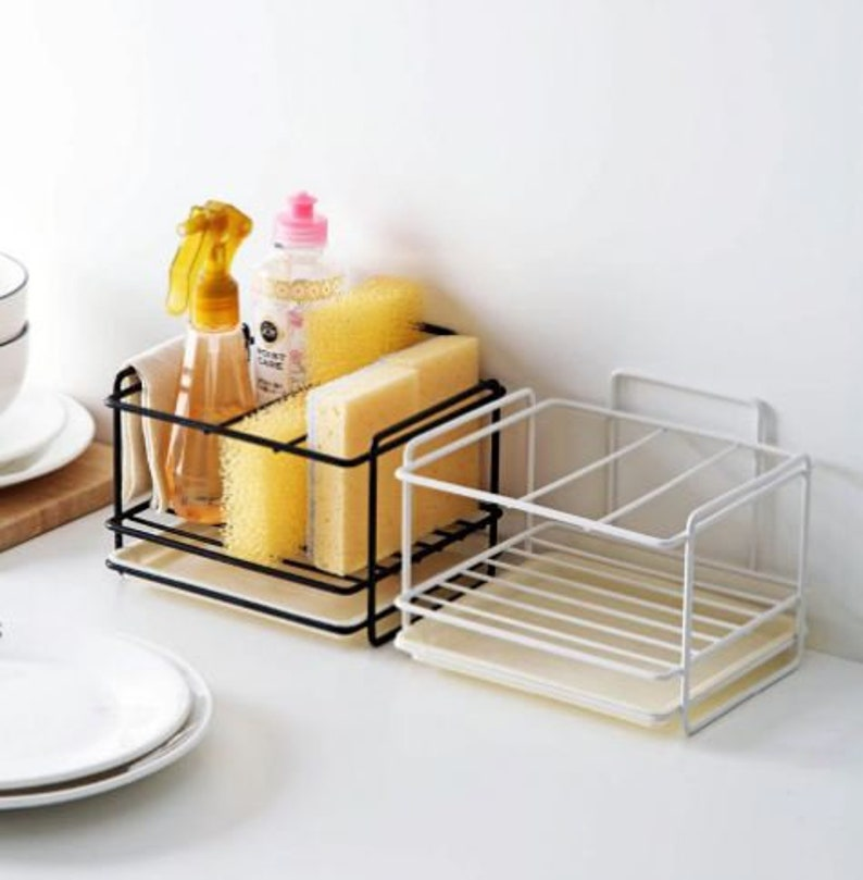 1Pc Stainless Steel Kitchen Bathroom Sponge Holder Storage Brush Soap Drain Rack