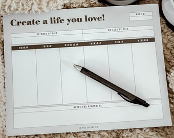 Weekly To Do List Notepad, Undated Weekly Planner Pad and Weekly Desk Calendar With Minimal Planner Design