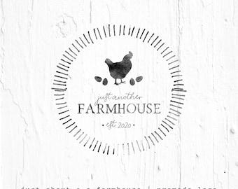 chicken logo, hen logo, farmhouse logo, farm logo, custom logo, hand drawn logo, premade logo