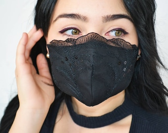 Black on Black Elegant Lace Face Face Mask with Sequins/ Fancy Glam Mask with Nose Wire/ Formal Wedding Mask