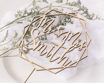 Mr and Mrs Cake Topper - Personalized Wedding Cake Topper - Rose Gold, Silver - WCT03