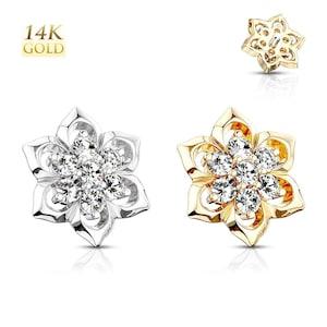 14K Gold Gem Stud Dermal Anchor Top Internally Threaded Screw Body Piercing Ring Head Jewelry