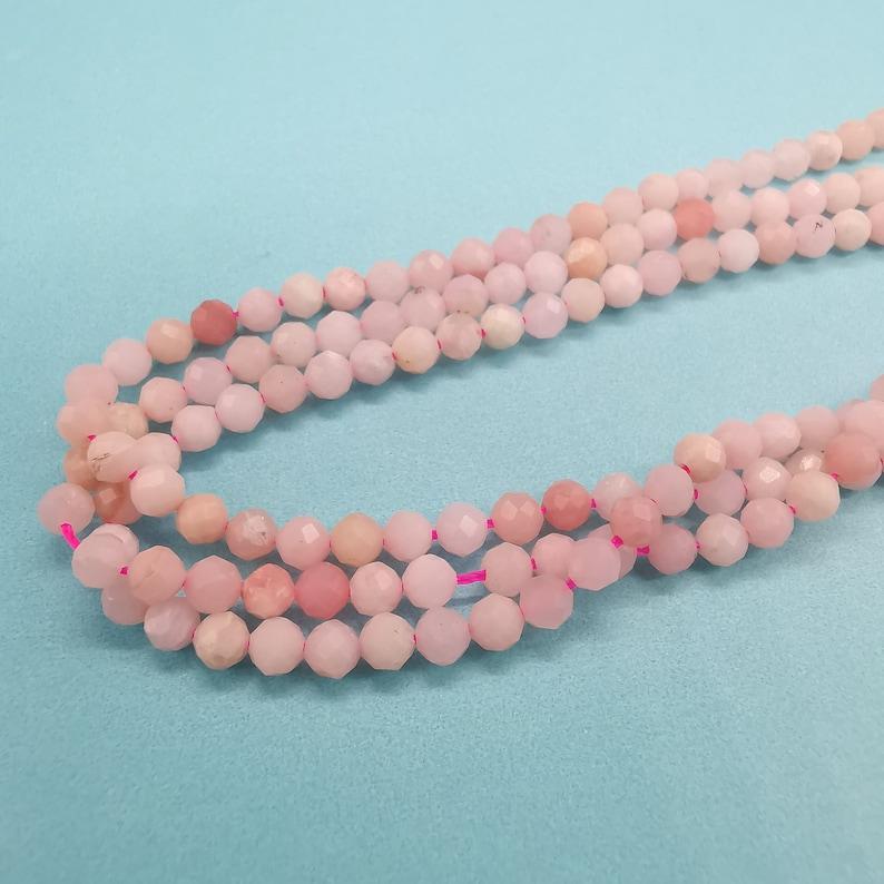 3.4mm Natural Pink Opal Beads pink color DIY beads Pink Opal Stones Faceted Opal Natural Pink Opal beads Pink Opal beads Pink Opal