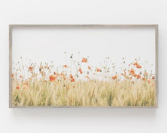 Samsung Frame TV Art   Farmhouse Art Print   Poppy Samsung Frame   Botanical Art Frame Tv   Samsung Download   Farmhouse Decor   Poppy Art