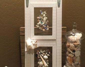 "Mermaid and Sea Shells, 8"" x 18"" White Double Glass Frame."