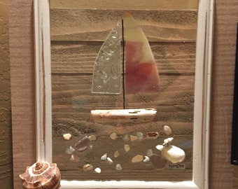 """Autumn color nautical Stained Glass Sailboat , 13.5"""" x 11.5""""  Wood Framed Sea Glass Art"""