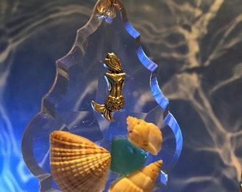 Sea Glass, Sea Shells, Mermaid on French Tear Drop Prism, Ornament or Sun Catcher