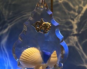 Sea Glass, Sea Shells, Small fish on French Tear Drop Prism, Ornament or Sun Catcher