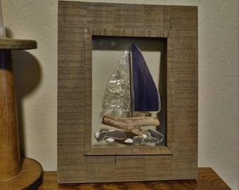 "Purple nautical Stained Glass Sailboat , 10.5"" x 8.5""  Wood Framed Sea Glass Art"