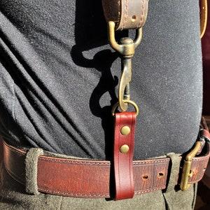Steampunk Black Leather Suspender Harness w Antique Brass Hardware
