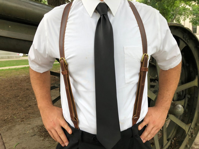 Men's Vintage Style Suspenders Braces Mens Leather Button Suspenders - Wedding Men Suspenders - Groomsmen Gift - Vintage Suspenders - Farm Suspenders - Amish Suspenders Handmade $60.90 AT vintagedancer.com