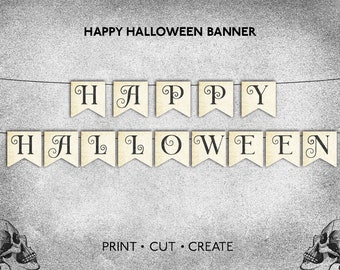 Printable Happy Halloween Banner | PDF Print at Home Instant Download | Make DIY Spooky Vintage Paper Decor Classic Party Bunting Decoration