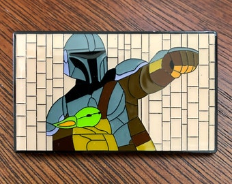 "Baby Yoda The Mandalorian Mosaic Art Enamel Pin 2"" x 1 1/4"" Star Wars Disney"