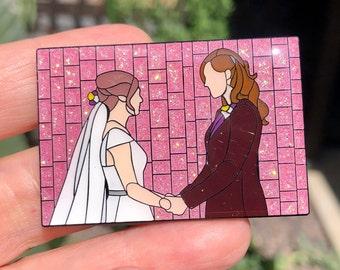 "WayHaught Wedding Wynonna Earp GLITTER Mosaic Art Enamel Pin  2"" x 1 1/4"" Kat Barrell Dominique Provost-Chalkley Nicole Haught Waverly Earp"