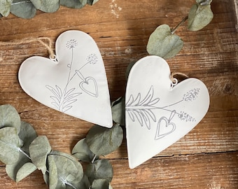 Hearts 2 Pieces - Window Decoration Heart - Heart - Heart White - Heart Hanger - Decoration Heart Metal - Gift Mother's Day - Heart to Hang - Heart