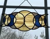 Moon Phase Triple Goddess Geometric Eclipse Stained Glass Suncatcher