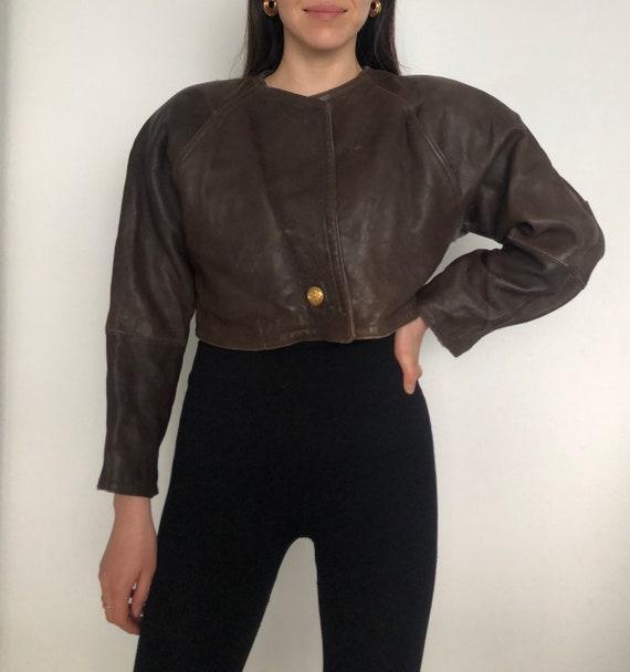 Vintage short leather jacket vintage brown leather