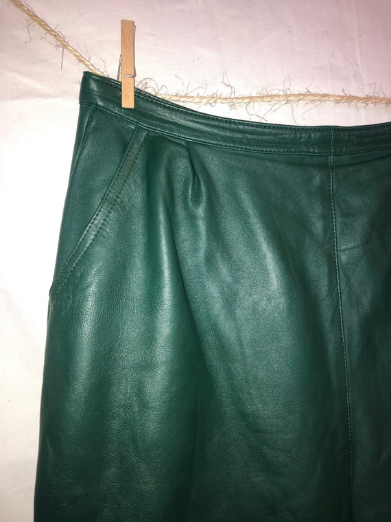 Vintage leather skirt vintage pencil skirt green s