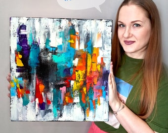 Abstract Cityscape Painting ORIGINAL ART City Wall Art Canvas Impasto Oil Painting Abstract Landscape Painting 16 by 16 by Olkosi