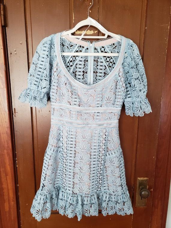 Sky Blue Crochet 70's Style Dress