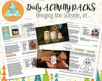 Owl Babies themed (aged 2-6yrs) Forest school nature inspired, creative, educational and fun activity packs for children